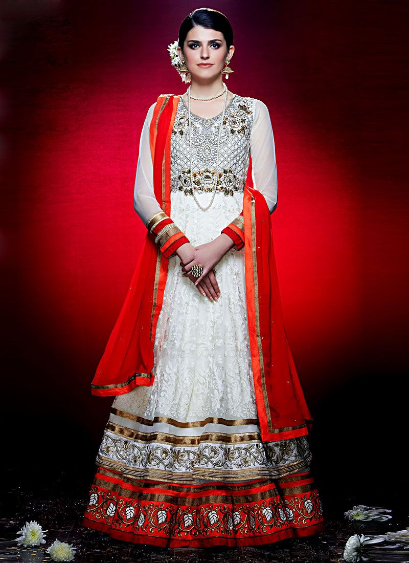 Red And White Floor Length Net Anarkali Suit