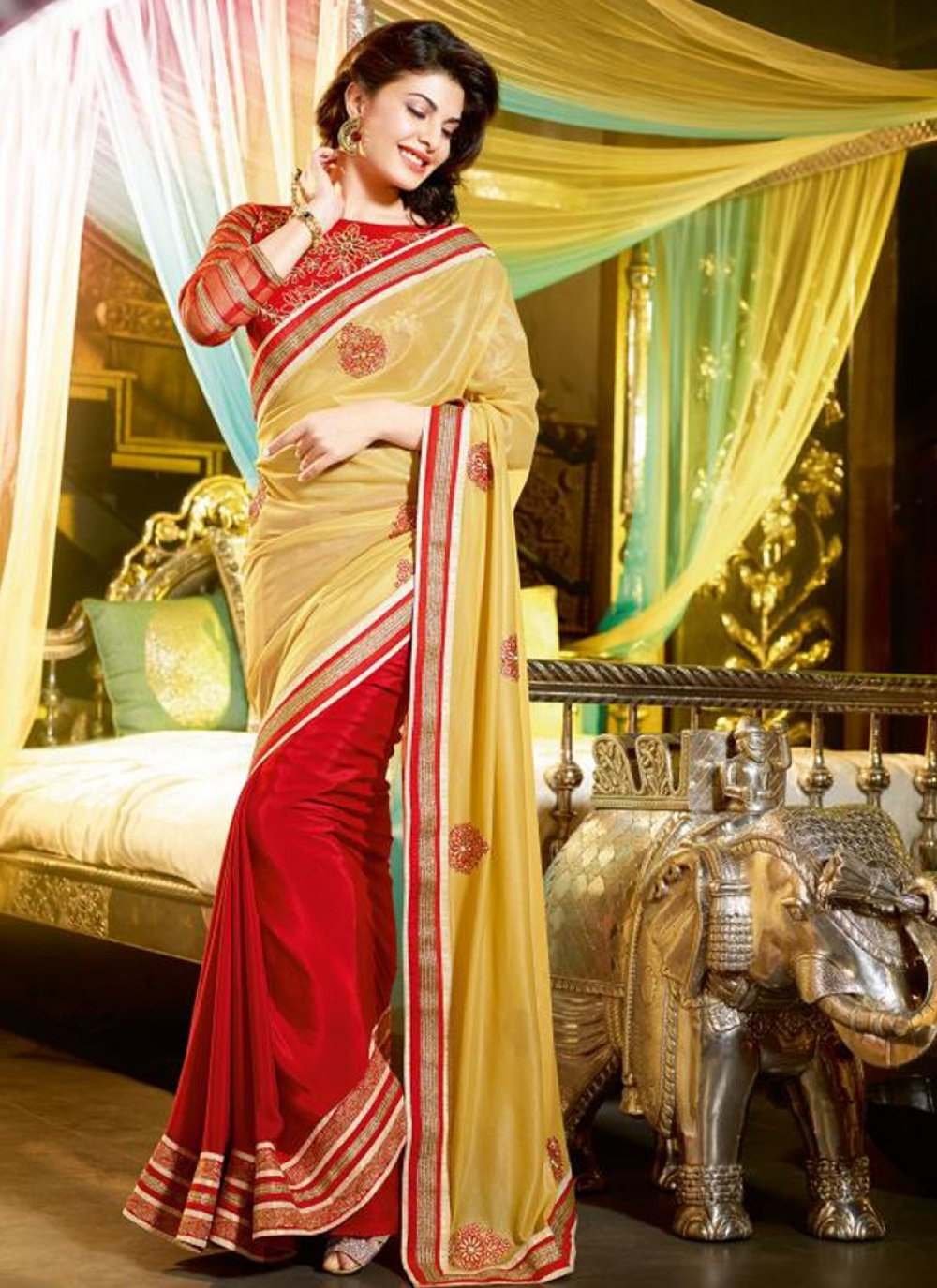 Red And Yellow Patch Border Work Half And Half Saree
