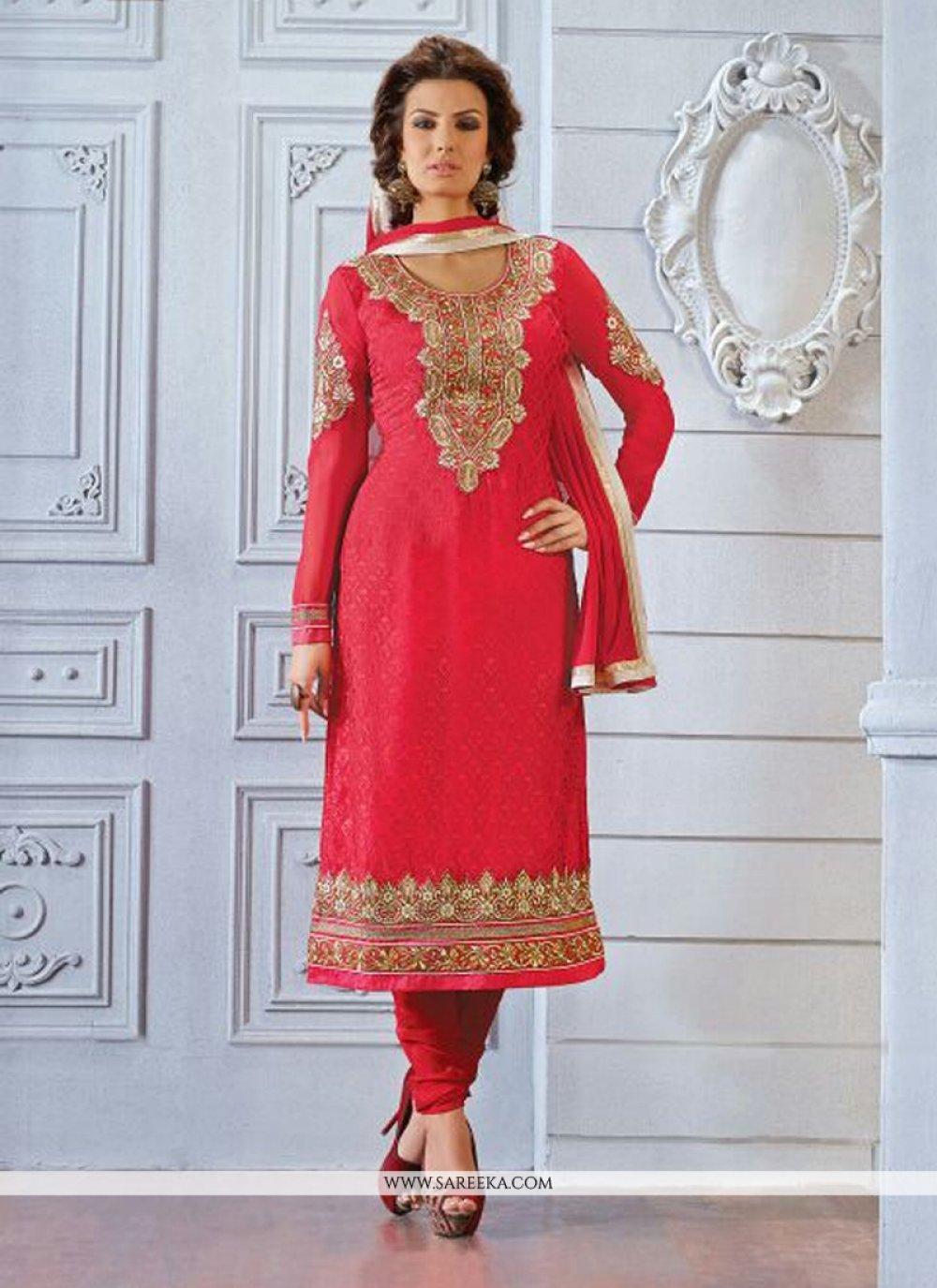 Red Brasso Churidar Salwar Kameez