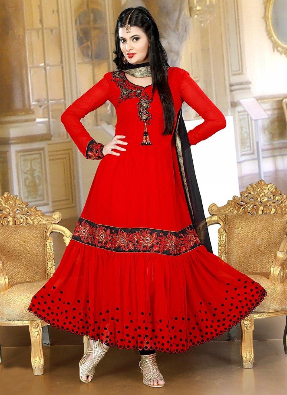 Red Buttis Georgette Anarkali Suit