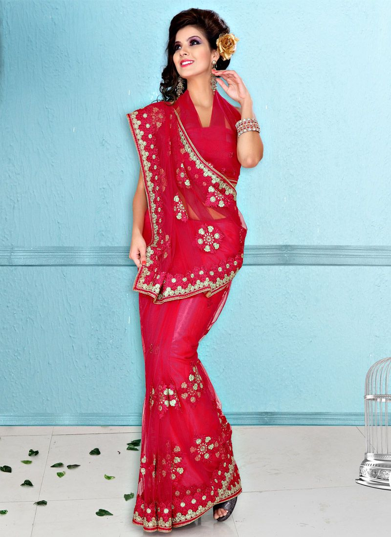 Red Net Resham Embroidered Saree