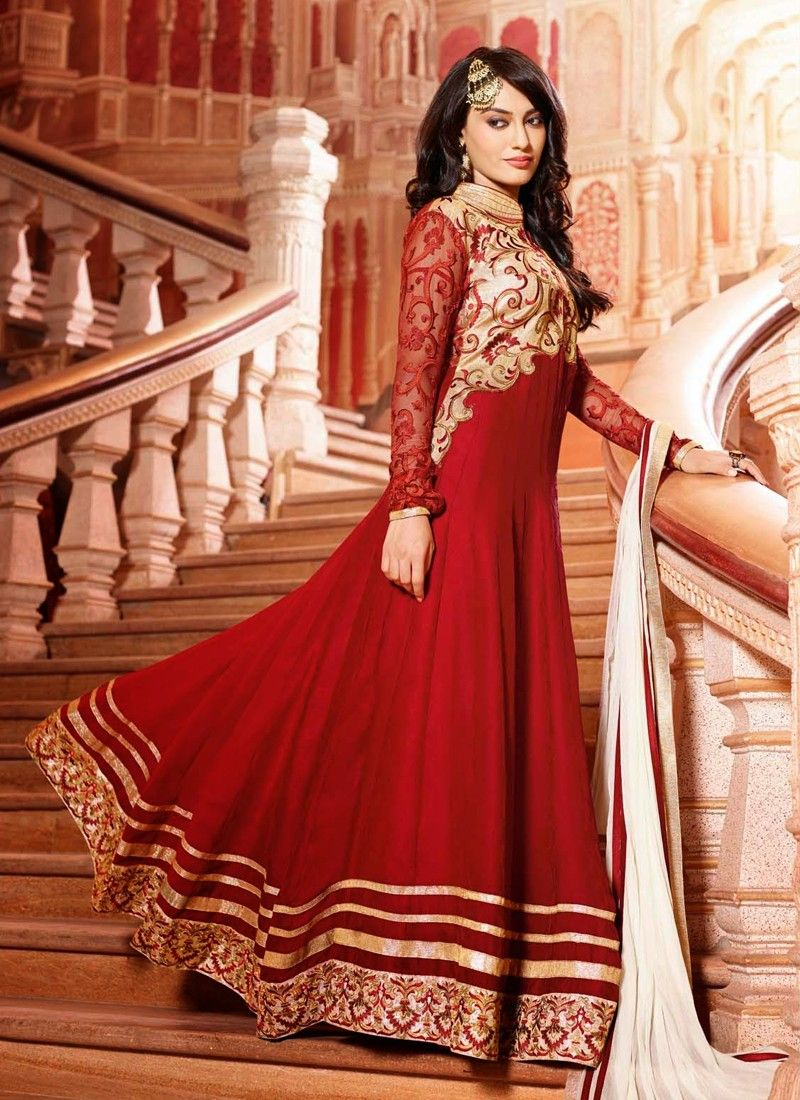 Red Resham Work Net Anarkali Salwar Suit