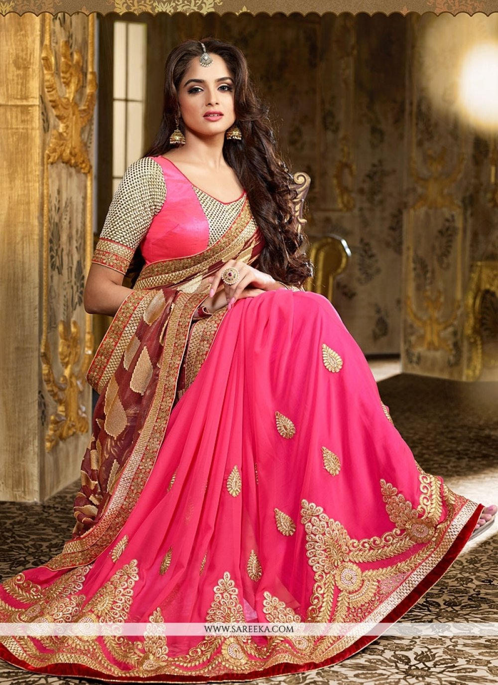 Rust And Hot Pink Georgette Saree