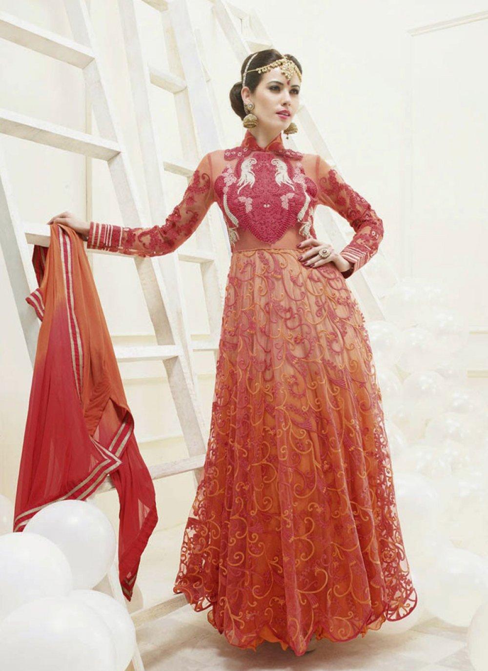 Rust Resham Work Net Anarkali Suit