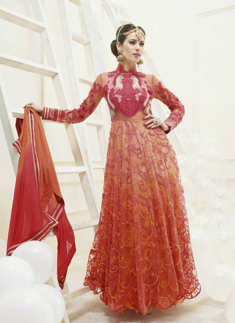 Rust Resham Work Net Anarkali Suit