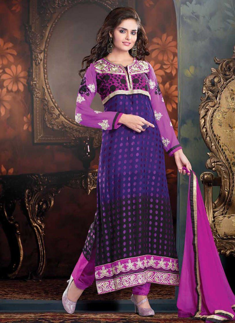Violet And Purple Brasso Churidar Suit