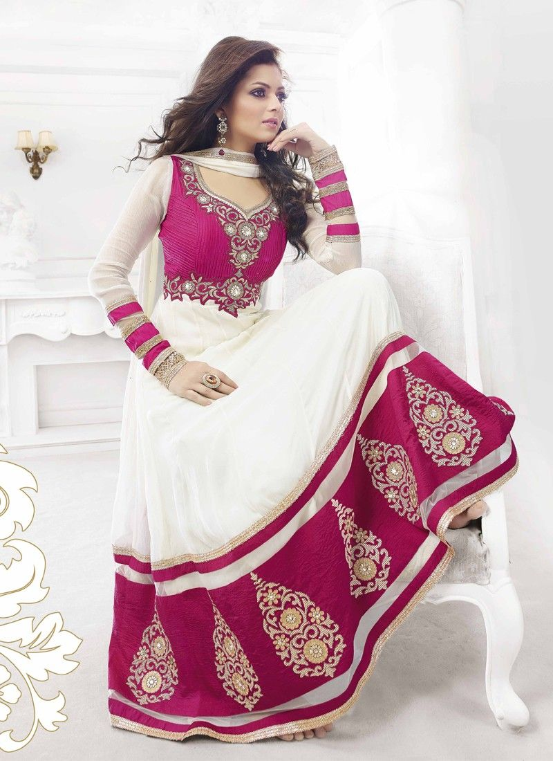 White And Magenta Embroidery Work Anarkali Suit