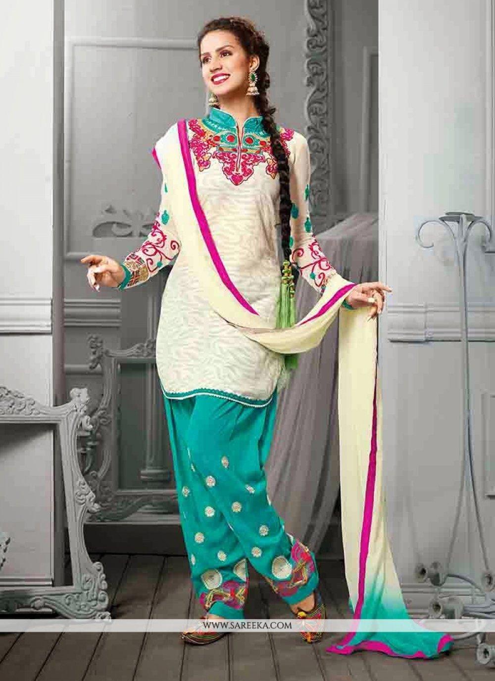 White Embroidery Work Punjabi Suit