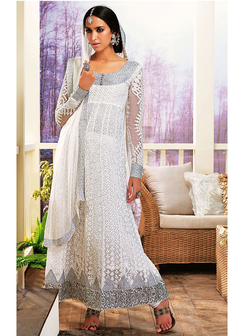 White Resham Work Net Anarkali Salwar Suit