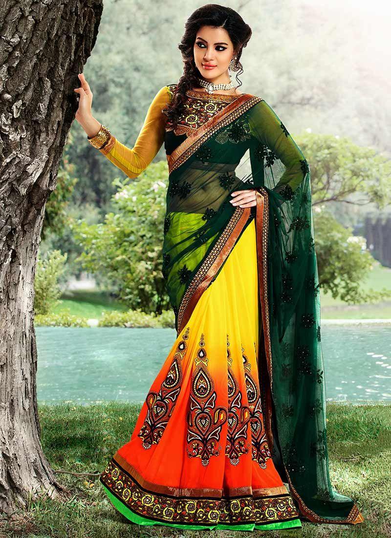 Yellow And Green Half And Half Saree