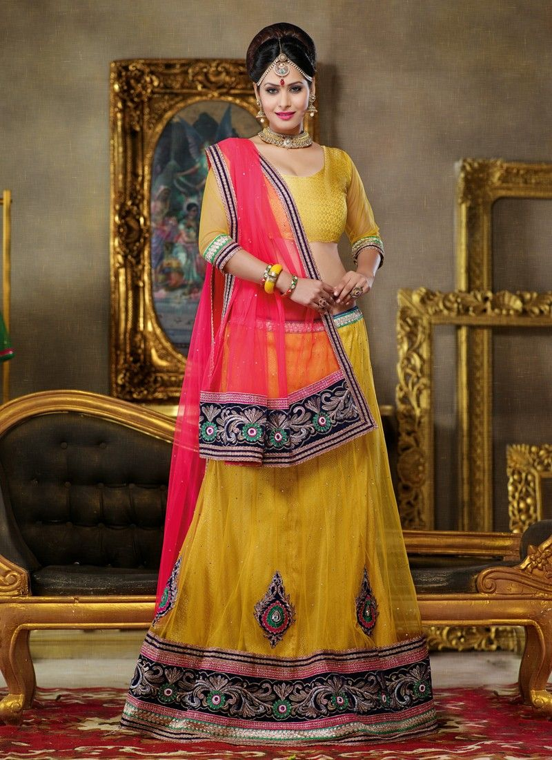 Yellow Embroidery Work Net Lehenga Choli