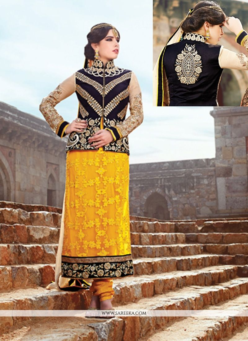 Yellow Pure Georgette Churidar Suit
