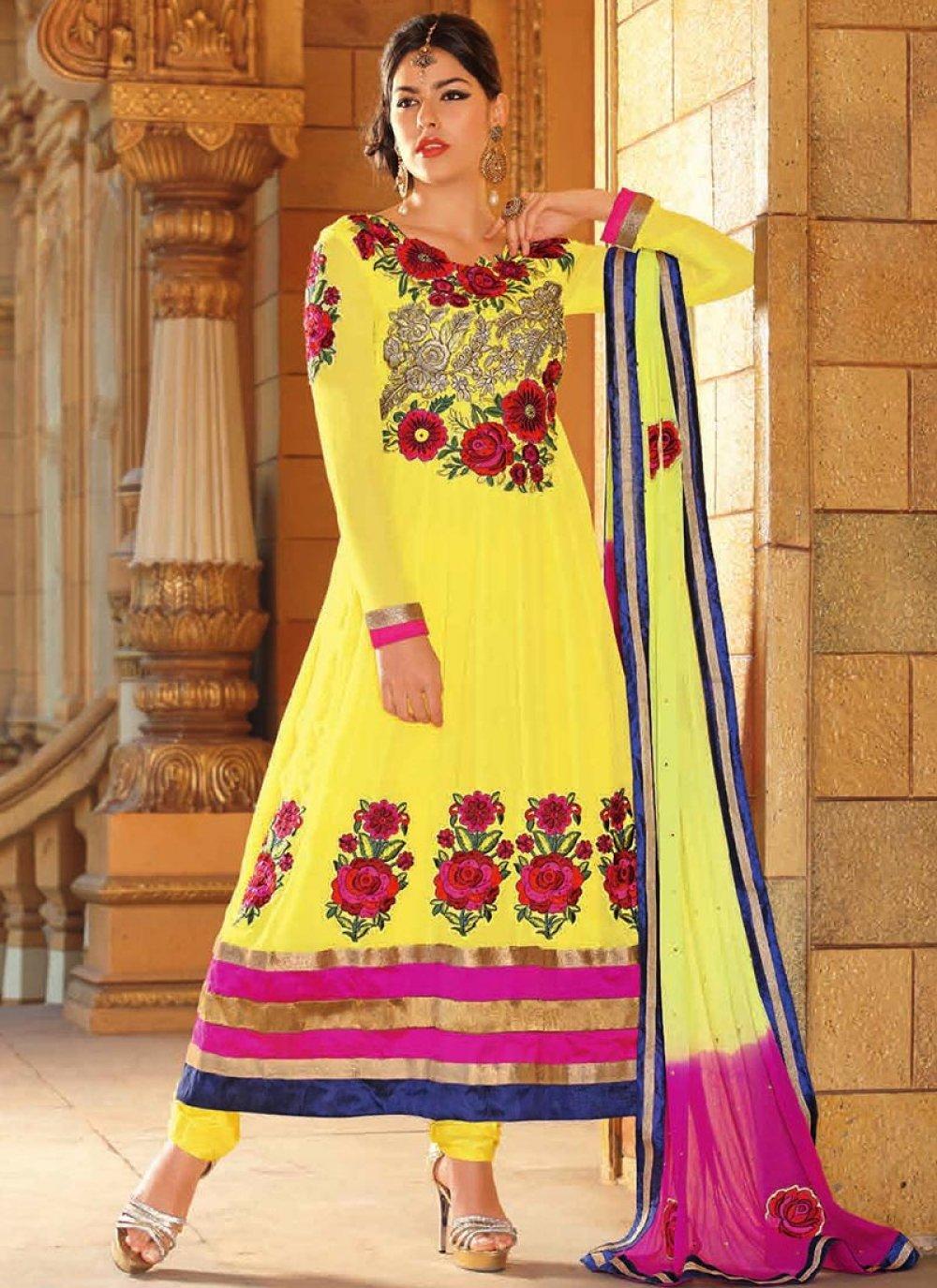 Yellow Resham Georgette Anarkali Suit