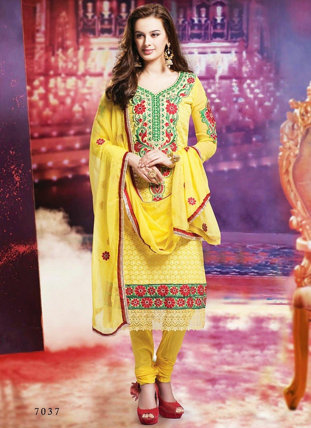 Yellow Resham Work Chiffon Churidar Salwar Kameez