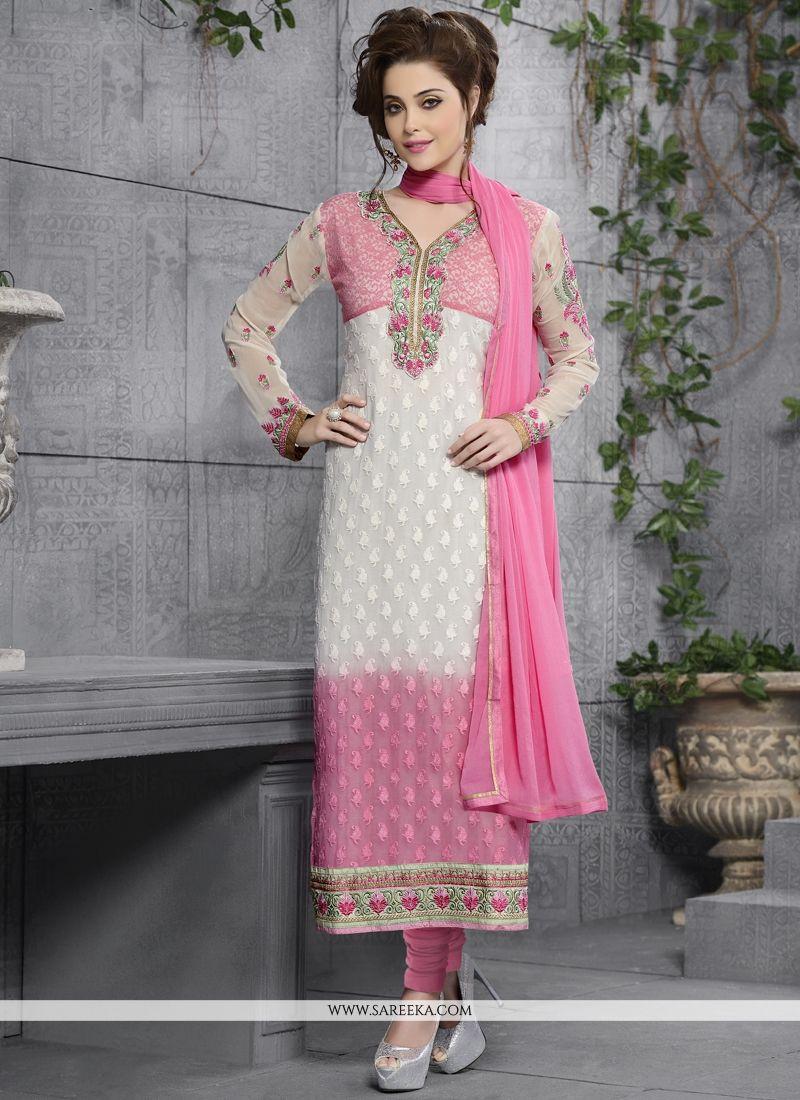 Debonair Georgette Pink and White Lace Work Churidar Salwar Kameez