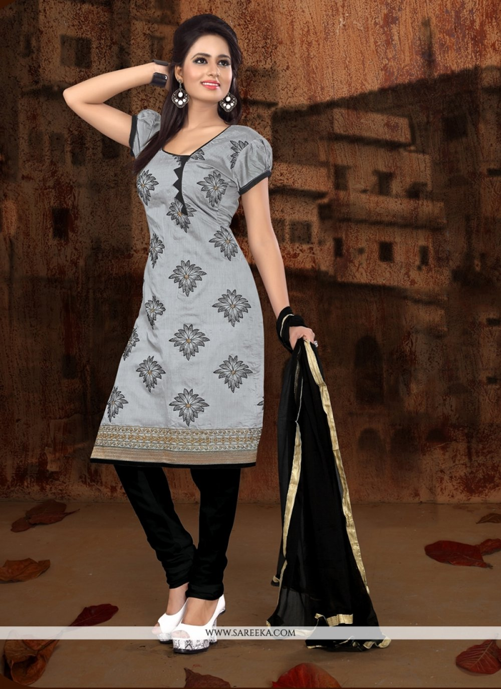 Debonair Grey Embroidered Work Churidar Designer Suit