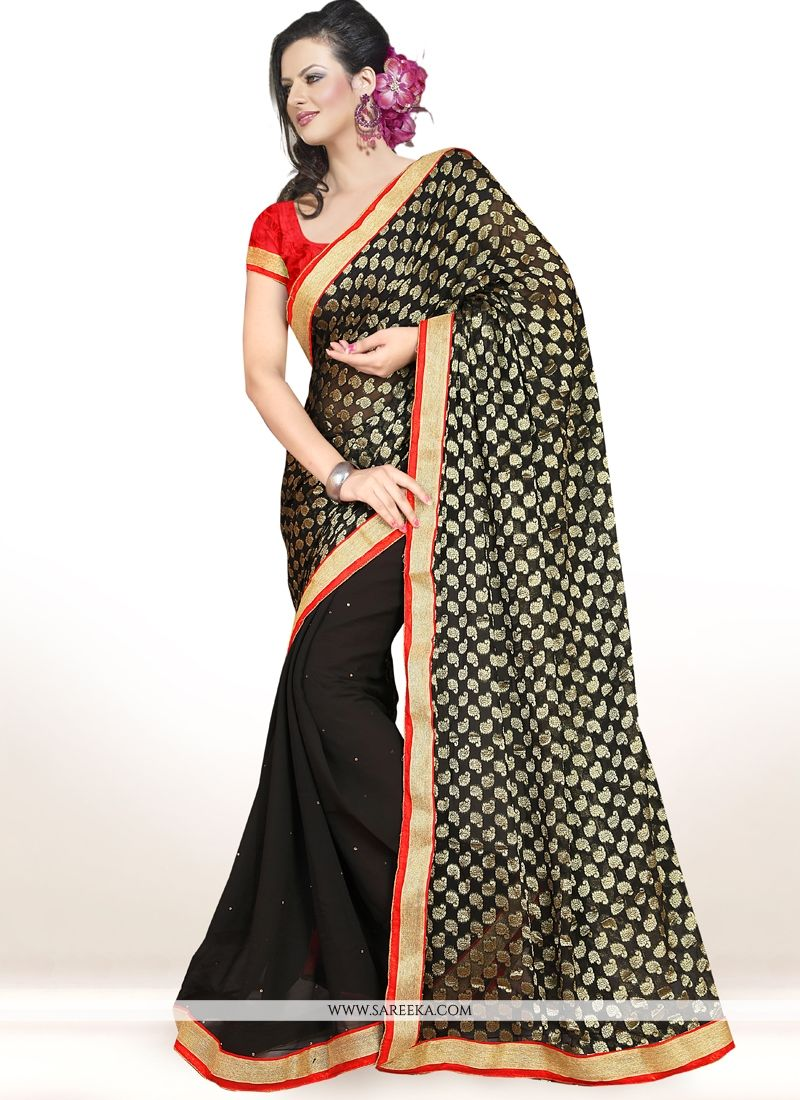 Debonair Lace Work Black Half N Half  Saree