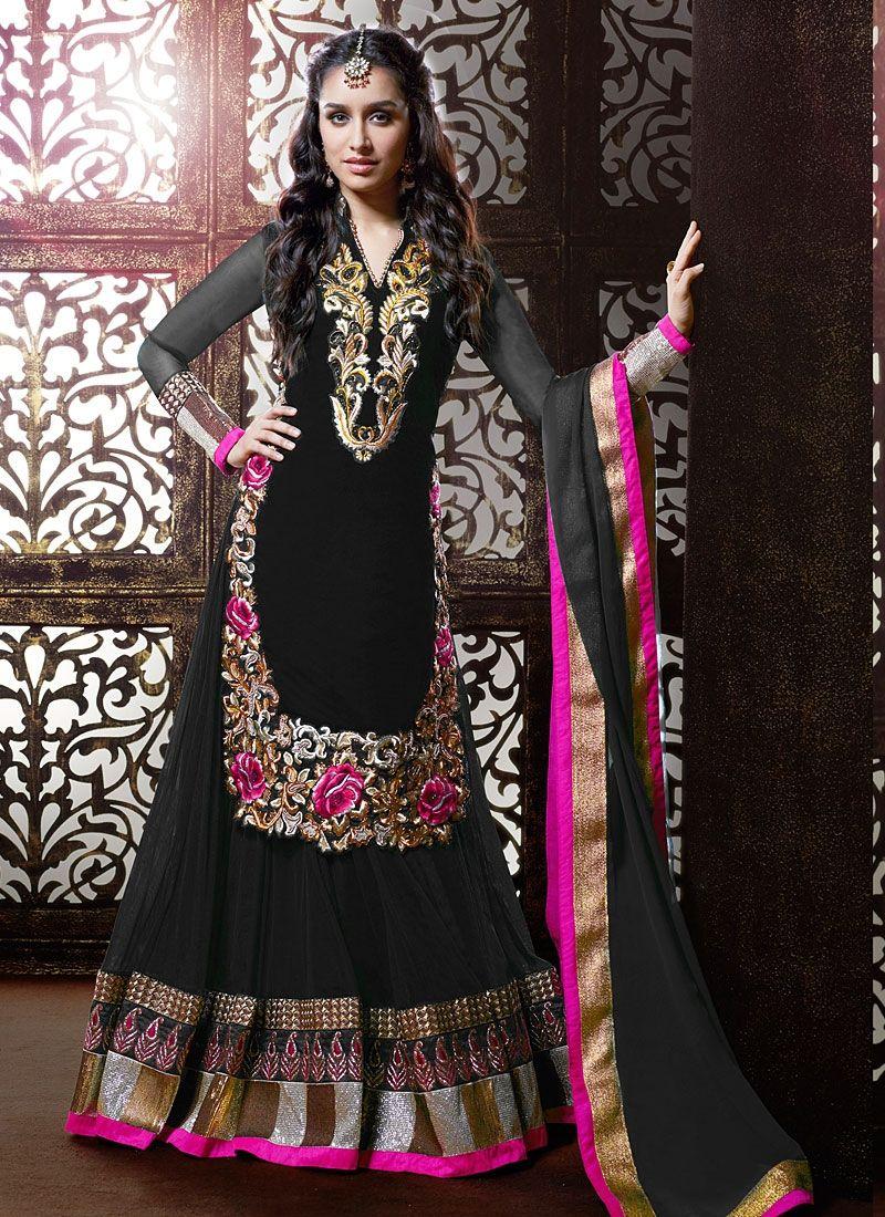 Shraddha Kapoor Black Georgette Designer Lehenga Choli