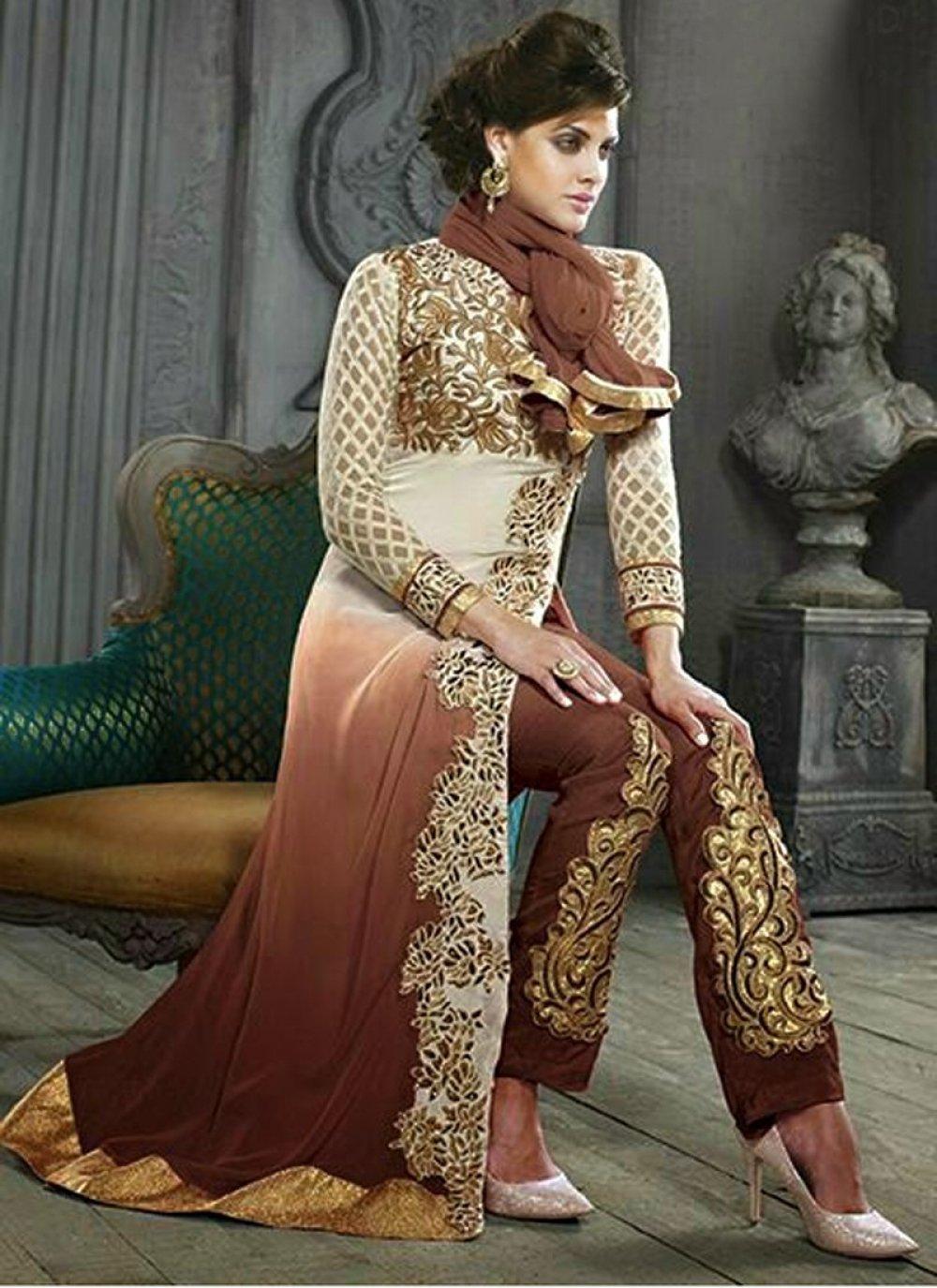 Decent Brown Shaded Resham Pakistani Suit