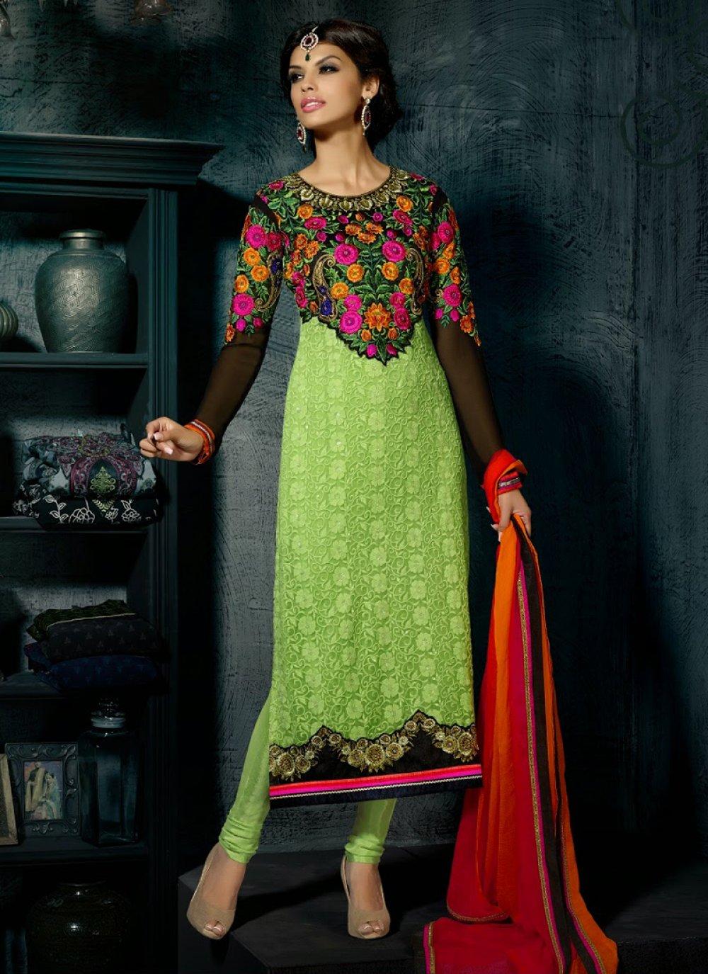 Decent Green Resham Work Churidar Suit