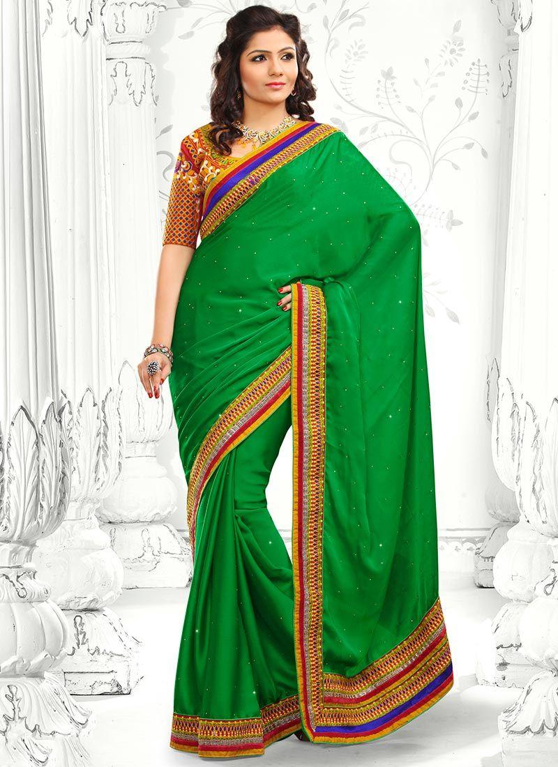 Decent Green Satin Chiffon Saree