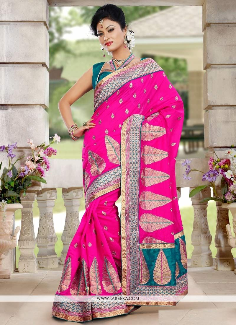 Decent Pink Chanderi Silk Designer Saree