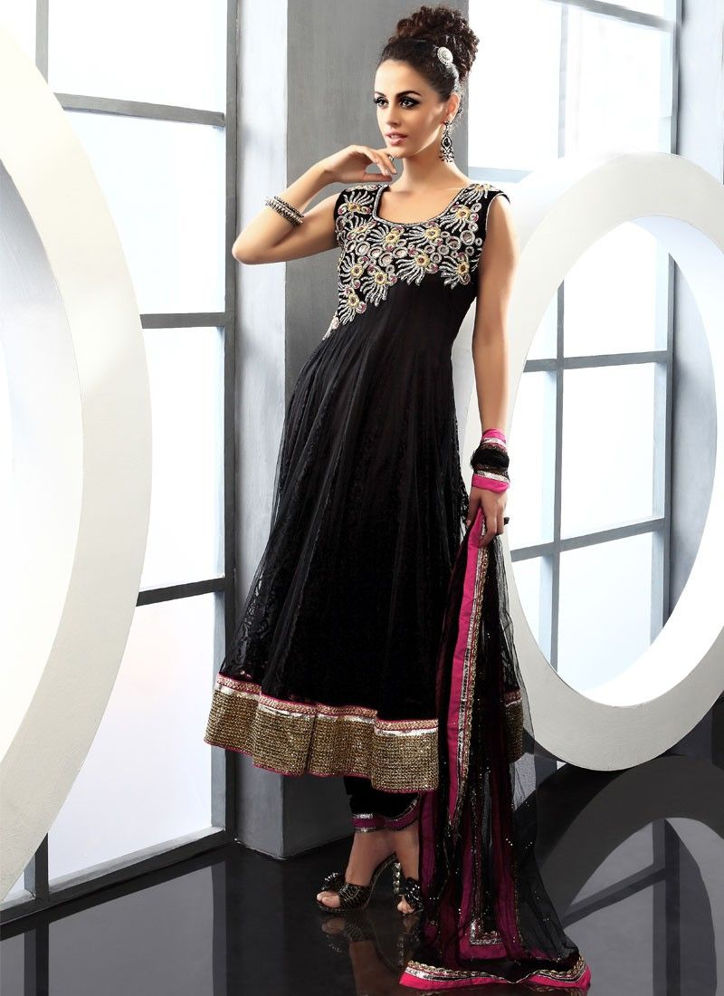 Decorative Black Net Churidar Suit