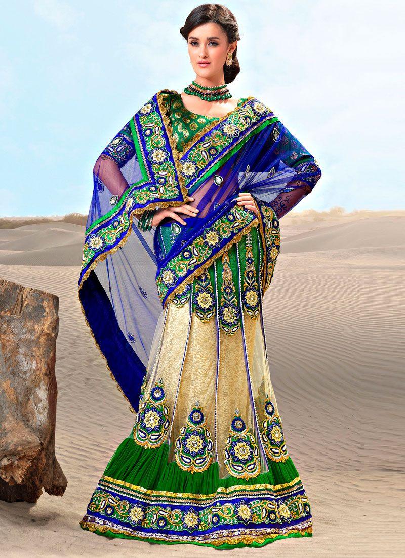 Decorative Blue And Cream Net Lehenga Style Saree