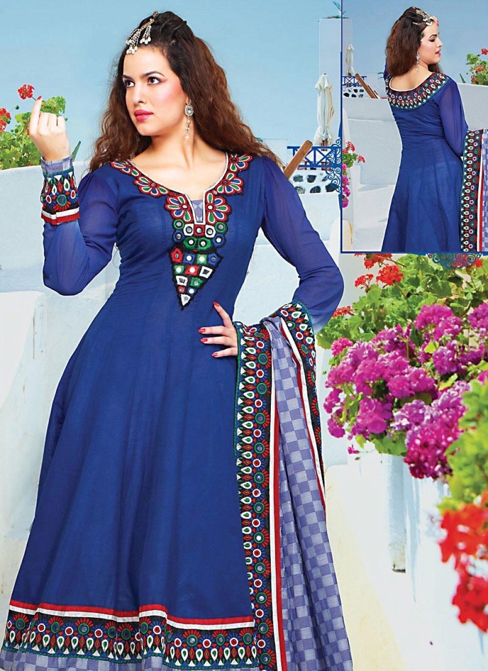 Decorative Blue Cotton Churidar Suit
