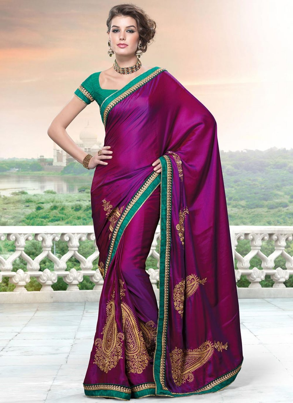 Deep Magenta Shaded Satin Saree