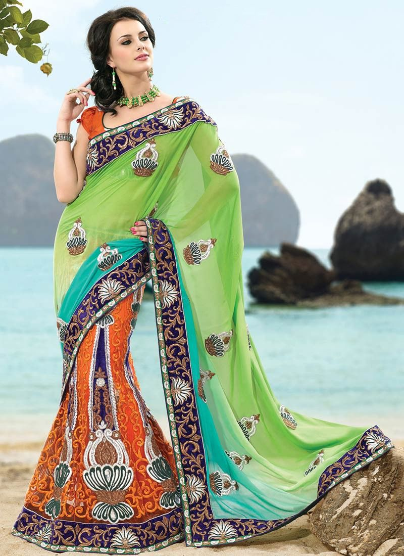Deep Tal Blue, Aloe Vera Green & Coral Embroidered Saree