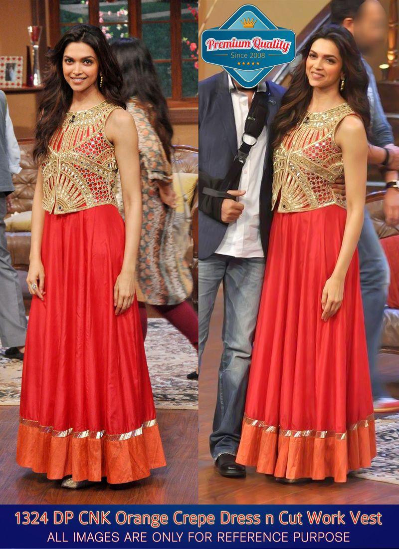 Deepika Padukone Orange Zari Crepe Gown -