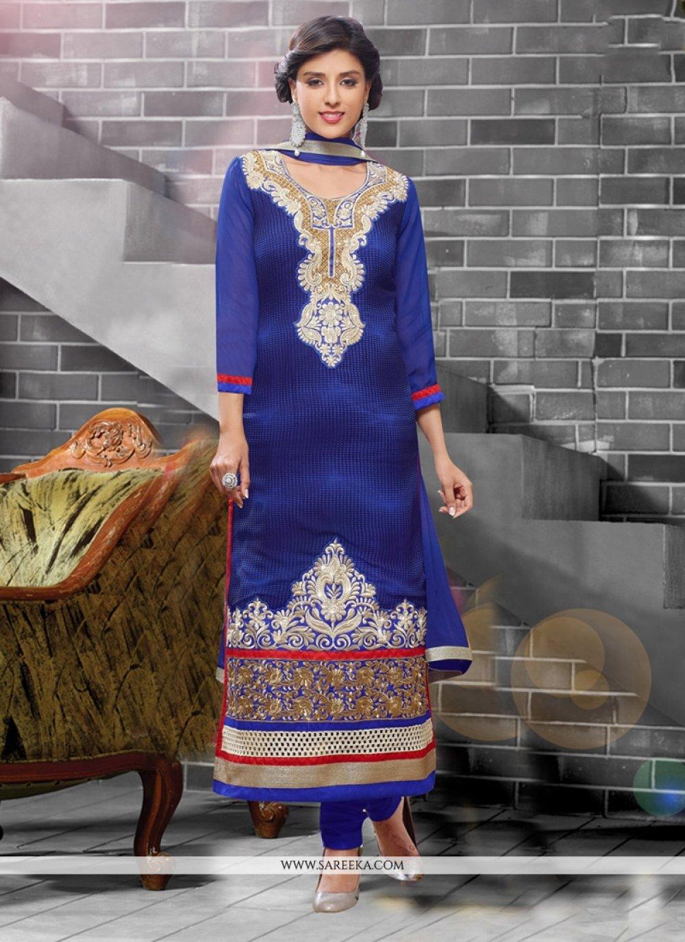 Georgette Blue Churidar Designer Suit