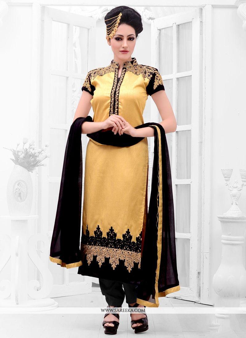 Gold Zari Work Designer Straight Suit