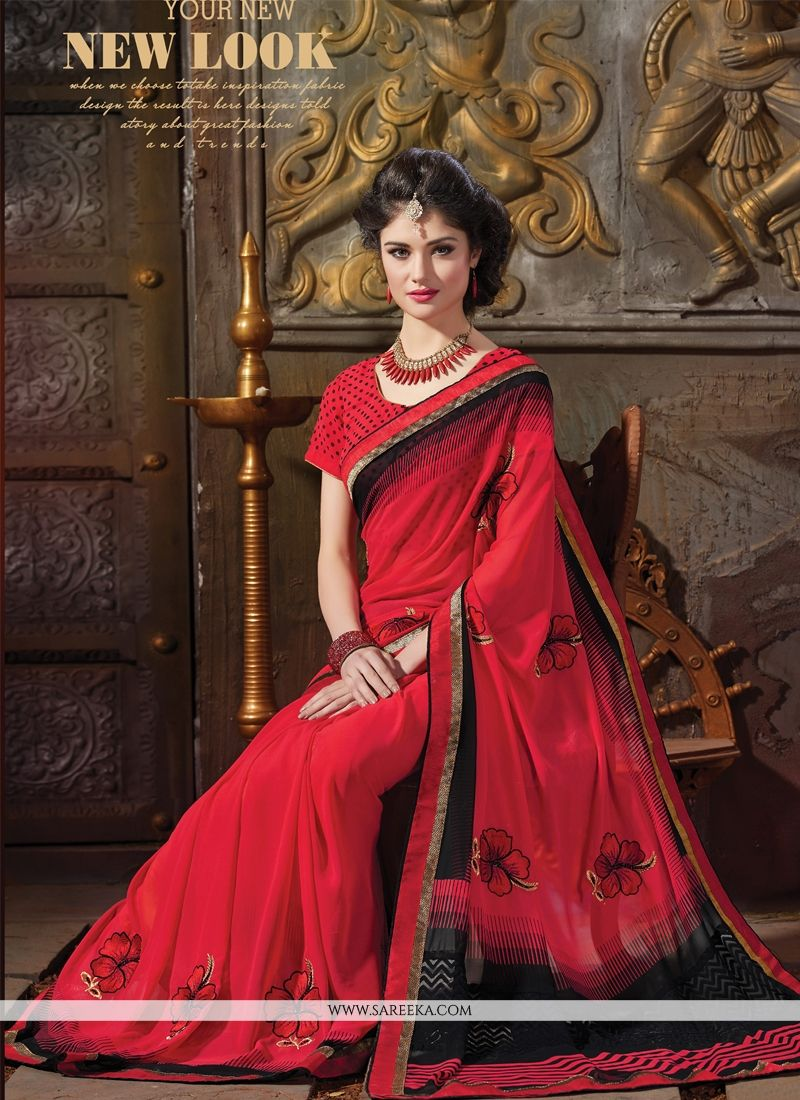 Red Patch Border Work Designer Saree