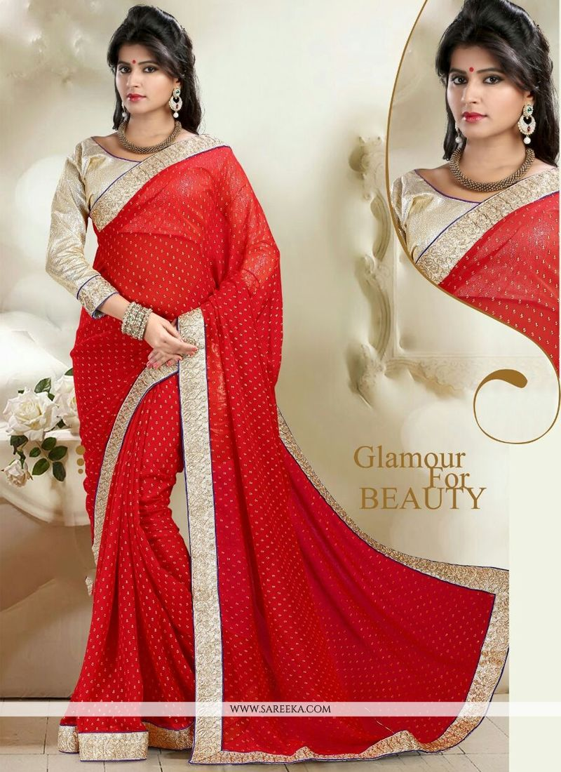 Red Print Work Weight Less Contemporary Saree