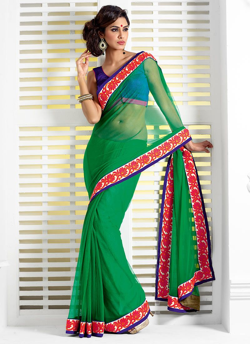 Delicate Green Net Wedding Saree