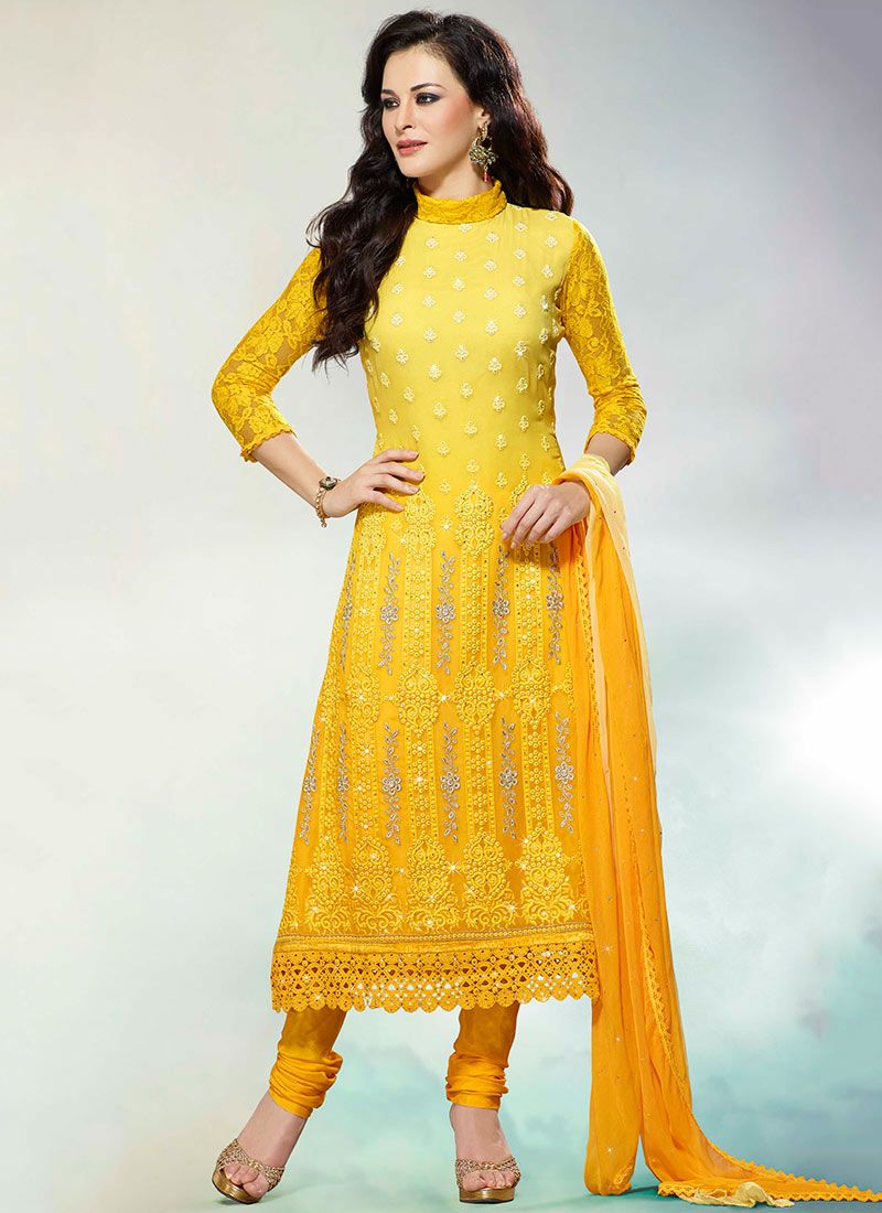 Delicate Yellow Faux Georgette Churidar Suit