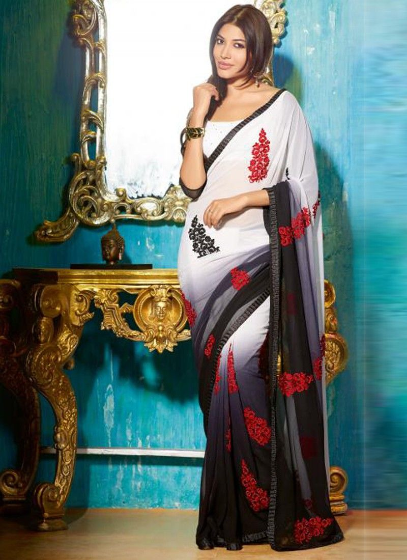 Delightful	Black And White Resham Party Wear Saree