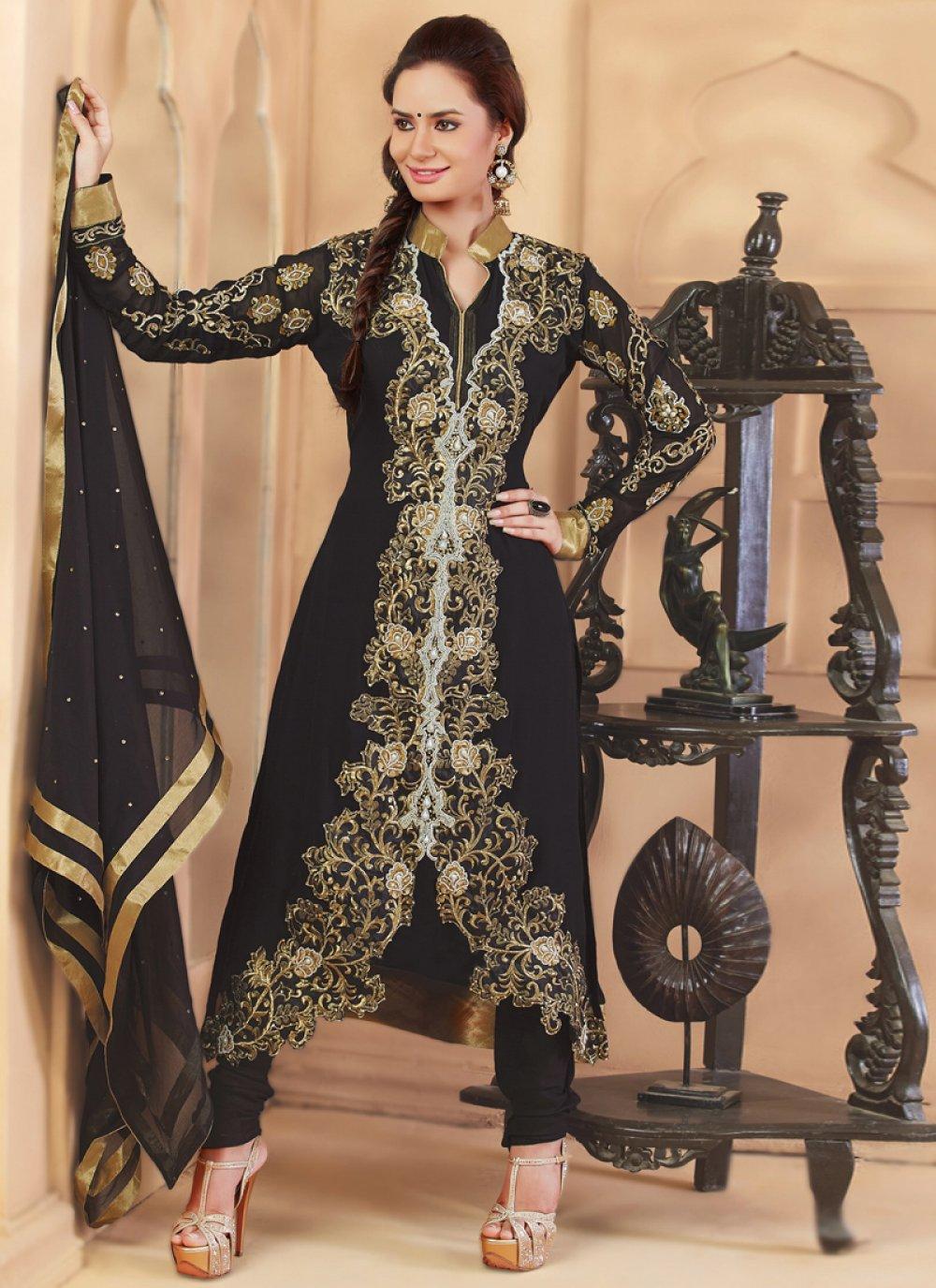 Black Embroidery Anarkali Suit