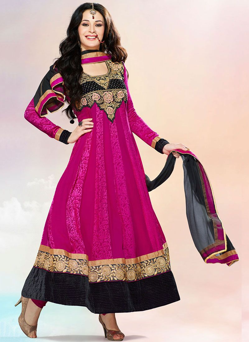 Magenta Ankle Length Anarkali Suit