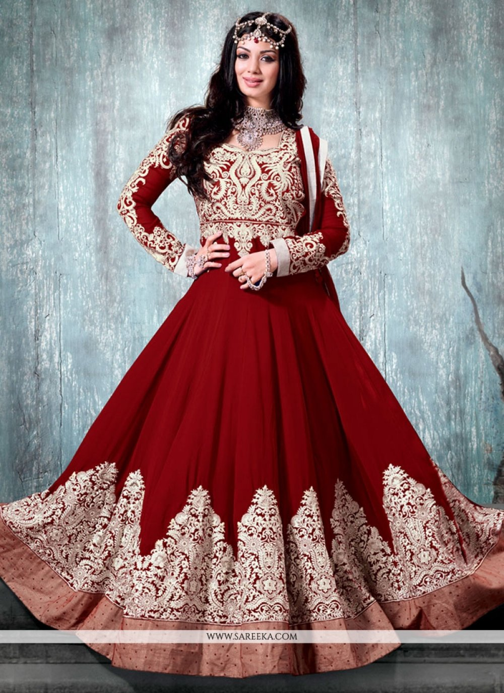 Maroon Art Silk Anarkali Suit