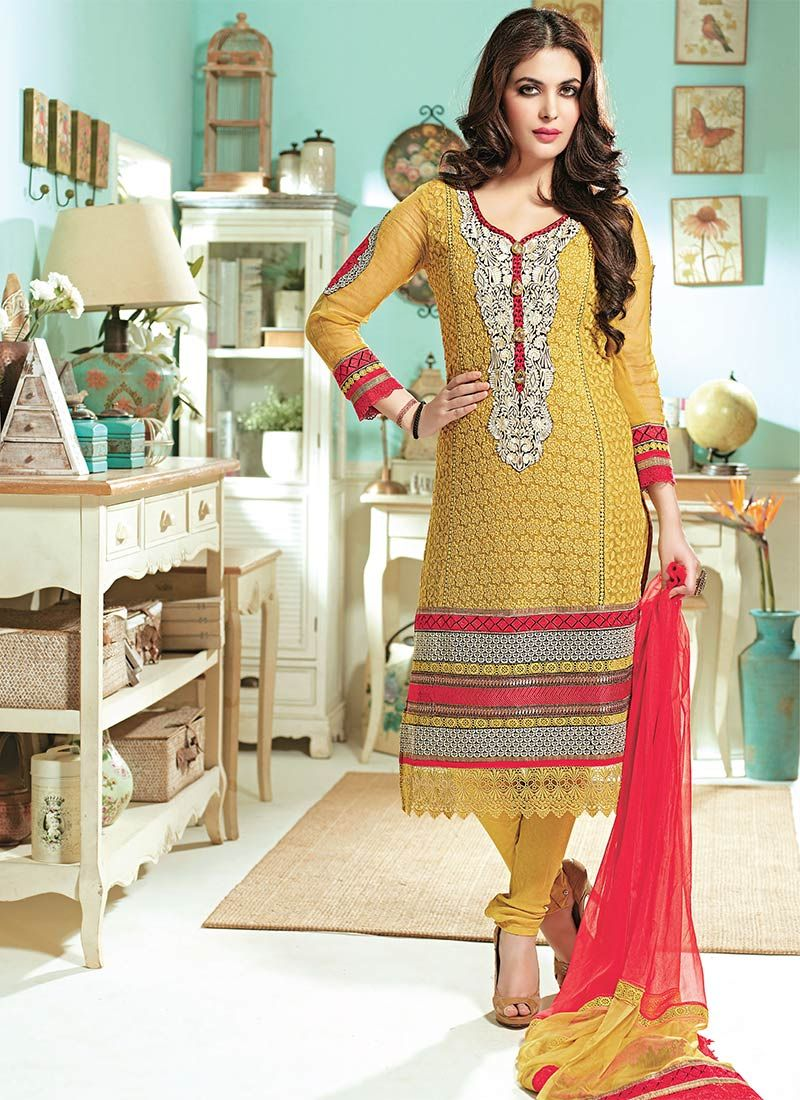Mustard Embroidered Churidar Suit