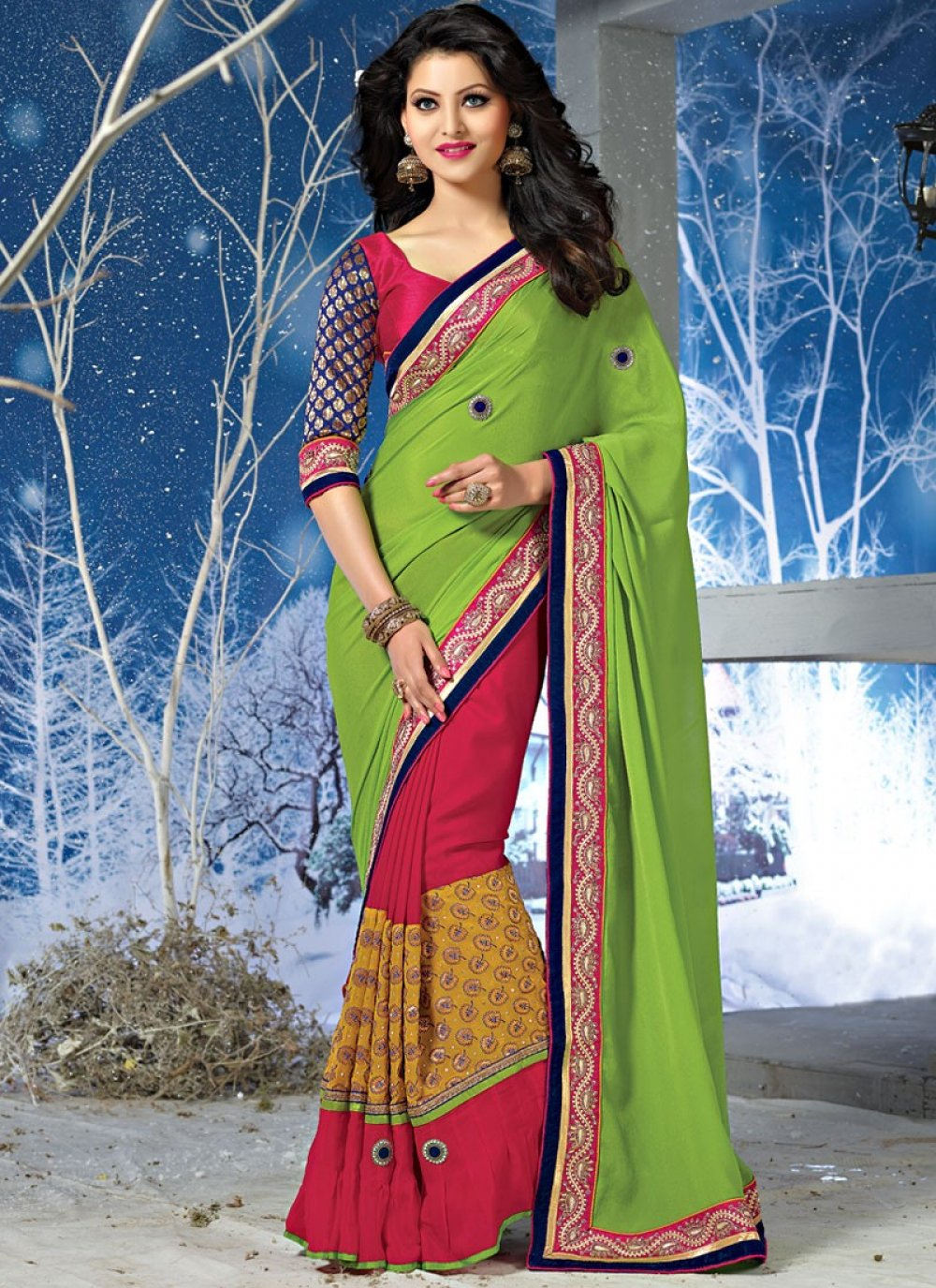 Neon Green And Red Patch Border Viscose Saree