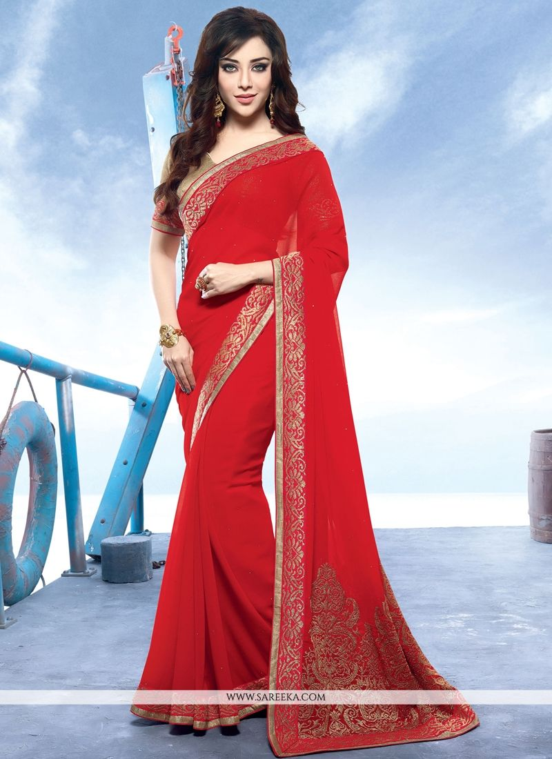 Patch Border Work Red Contemporary Style Saree