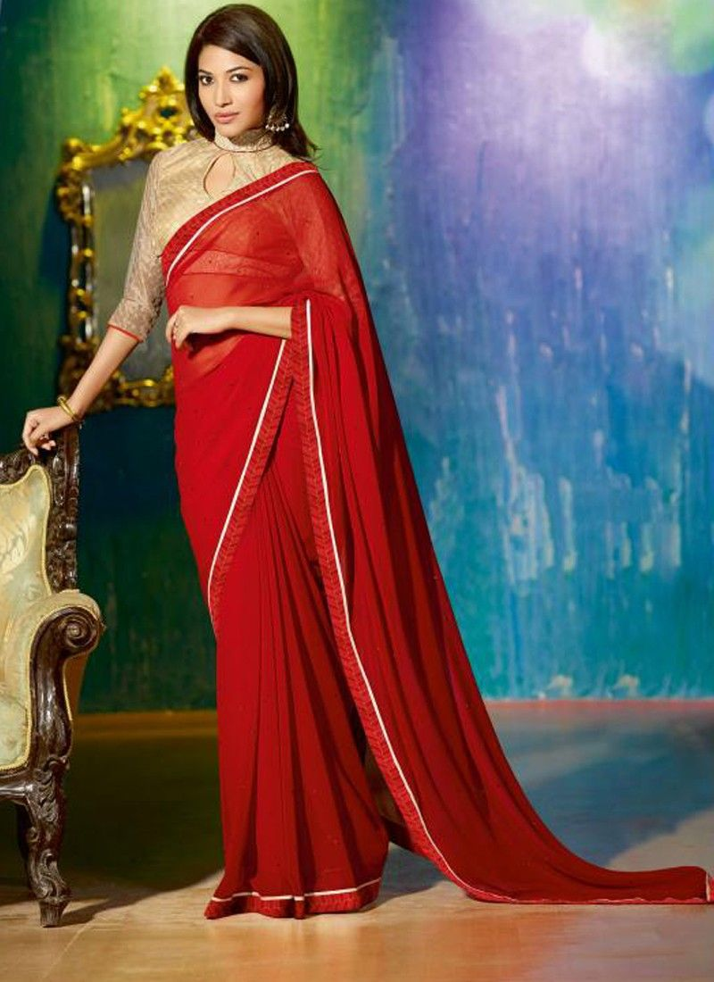 Red Faux Georgette Party Wear Saree