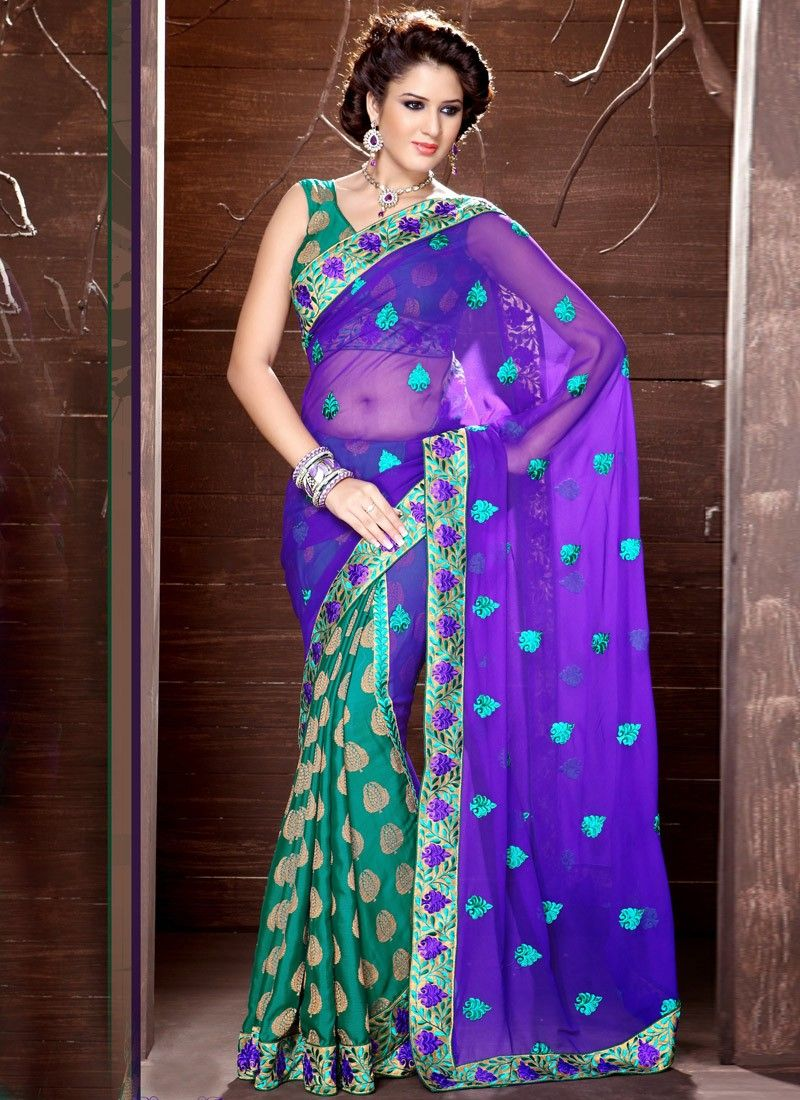 Sea Green Viscose Half And Half Saree