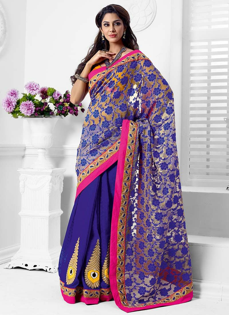 Violet Net Half And Half Saree