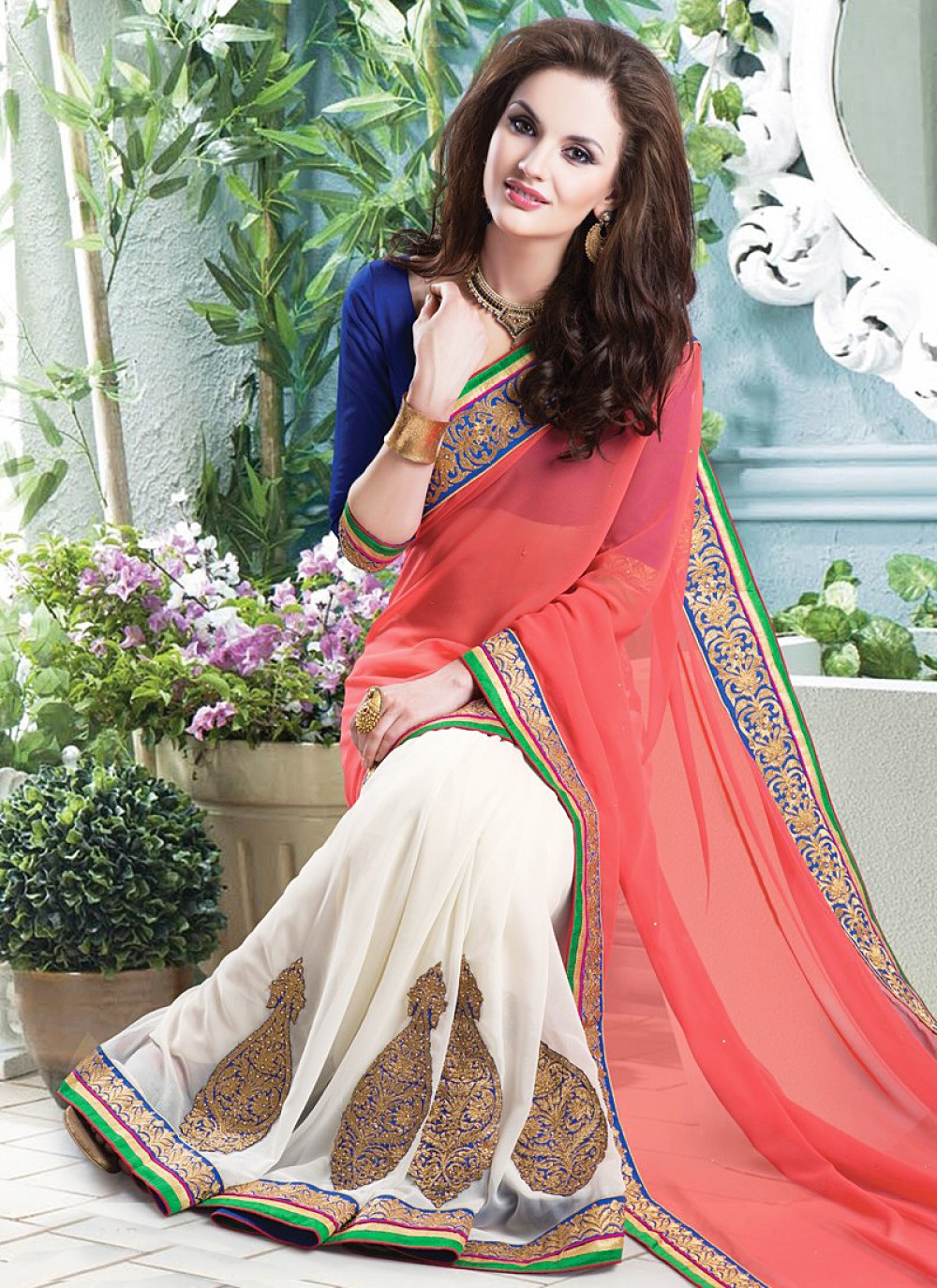 White And Pink Embroidery Party Wear Saree