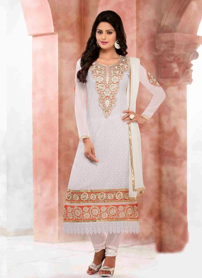 White Resham Work Churidar Suit